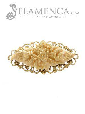 Broche de flamenca de resina marfil con reflejos oro