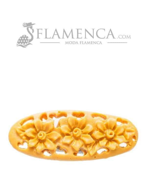 Broche de flamenca de resina mostaza