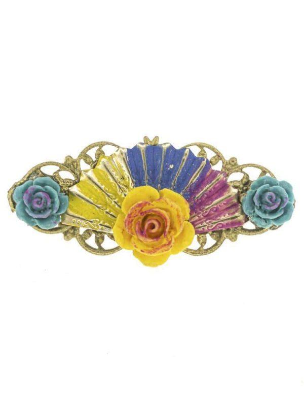 Broche de flamenca de resina multicolor