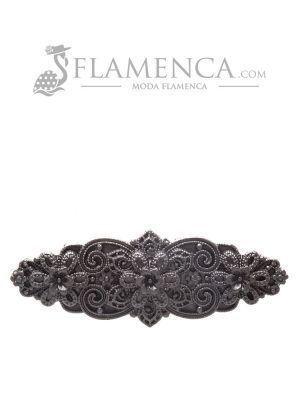Broche de flamenca de resina negro