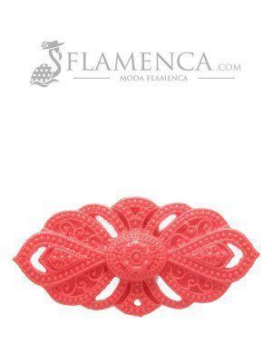 Broche de flamenca de resina rojo