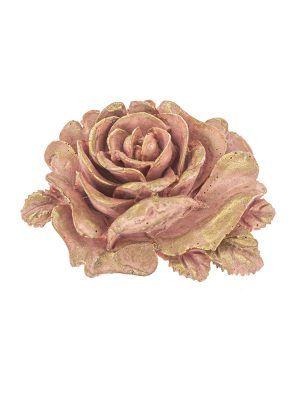 Broche de flamenca de resina rosa con reflejos dorados