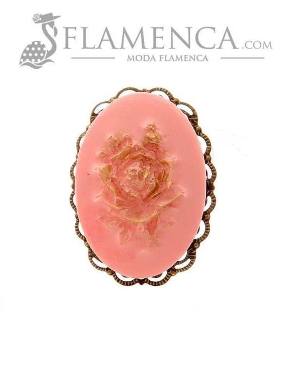 Broche de flamenca de resina rosa palo con reflejos oro