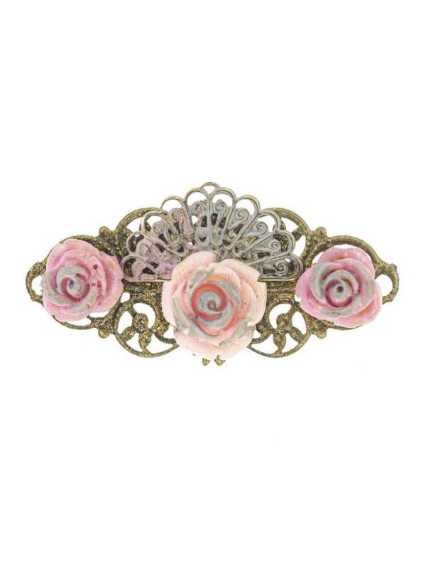 Broche de flamenca de resina tono rosa con reflejos plata