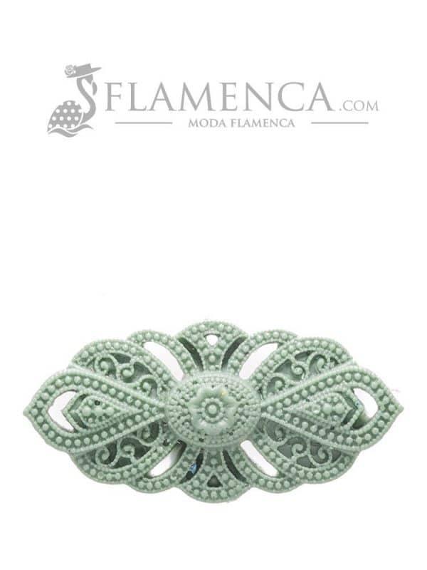 Broche de flamenca de resina verde agua antiguo