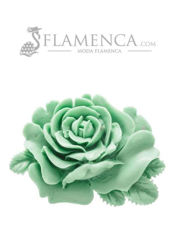 Broche de flamenca de resina verde pastel