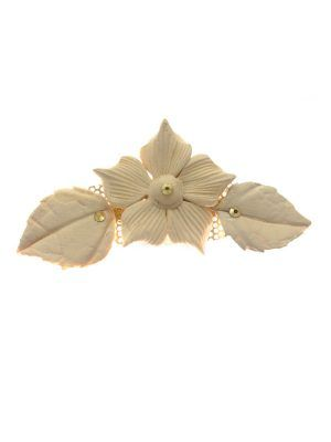 Beige porcelain flower flamenco brooch