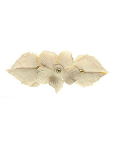 Ivory porcelain flower flamenco brooch