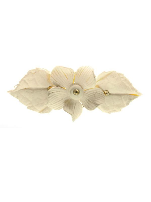 Ivory porcelain flower flamenco brooch