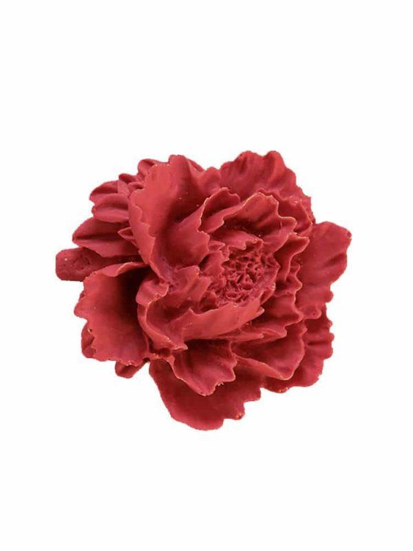 Burgundy resin flower flamenco brooch