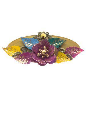 Broche de flamenca flor metálica multicolor con reflejos oro