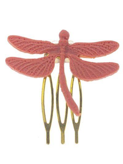 Broche de flamenca libélula de resina coral