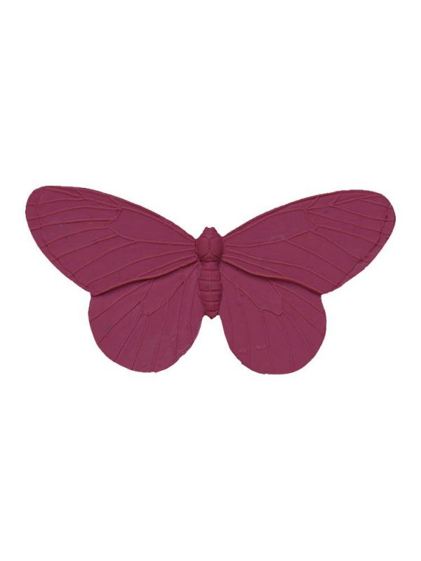 Broche de flamenca mariposa de resina color malva antigua