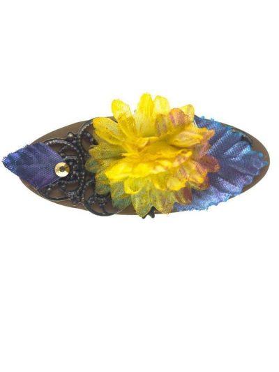 Broche de flamenca multicolor con flor de tela en tono mostaza