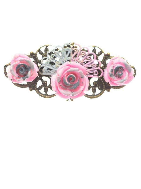 Pink baby flamenco brooch with gray reflection