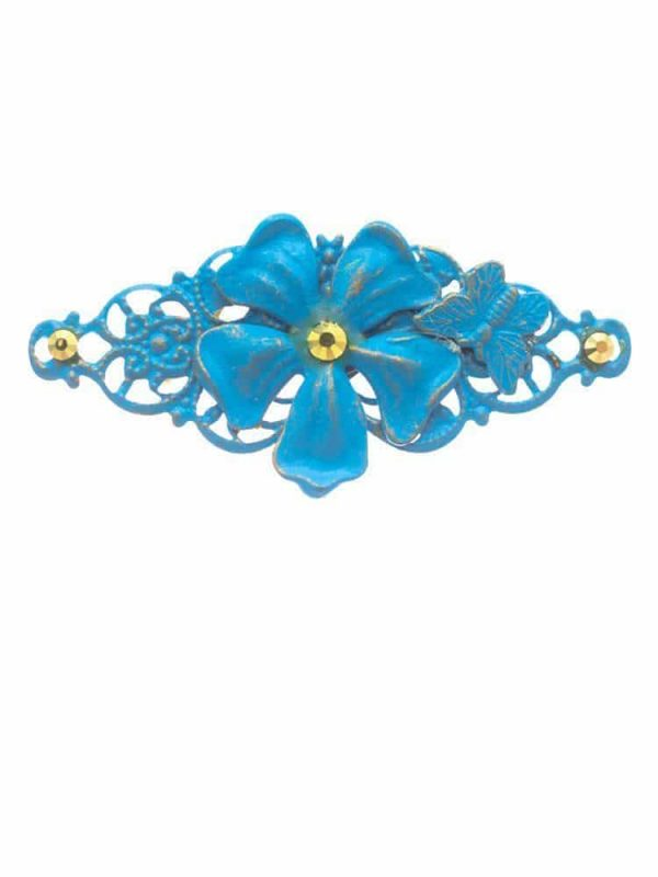 Flamenco turquoise brooch with golden highlights