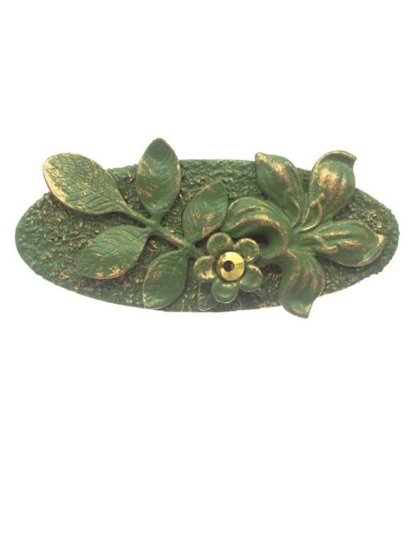 Water green flamingo brooch with golden highlights