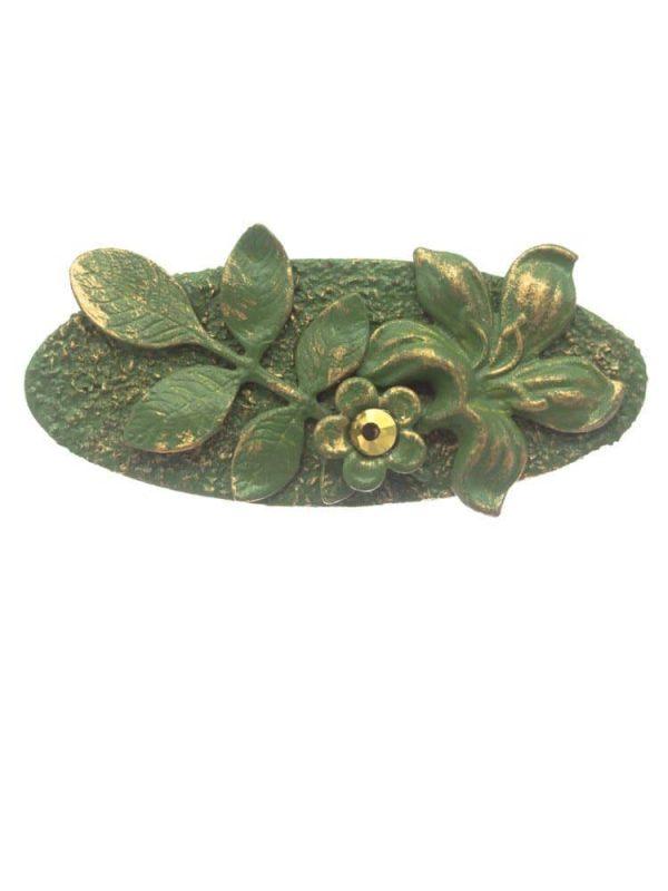 Broche de flamenca verde agua con reflejos dorados