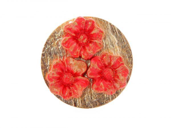 Broche de porcelana color rojo con reflejos dorados