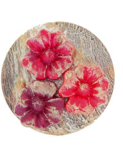 Broche de porcelana en tonos rojo degradé con reflejos dorados