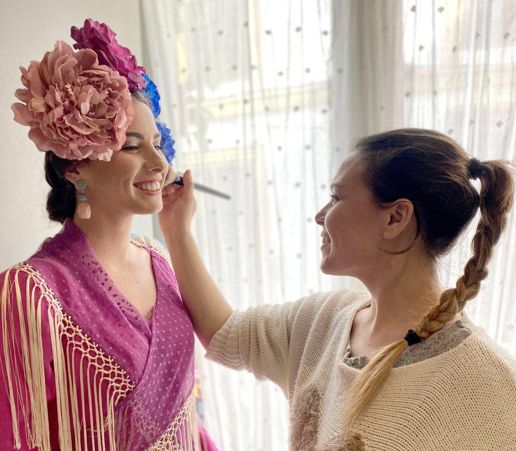 maquilladora shooting moda flamenca