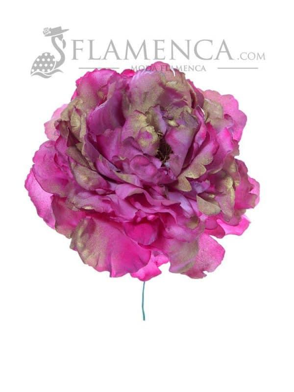Flor de flamenca buganvilla con reflejo en oro