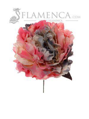 Flor de flamenca en tonos rosas y gris