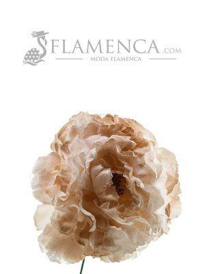FLOR DE FLAMENCA MARFIL CON REFLEJOS EN ORO