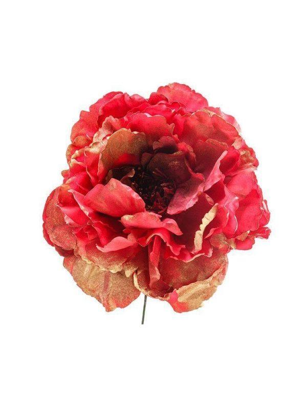Flor de flamenca roja con reflejos en oro