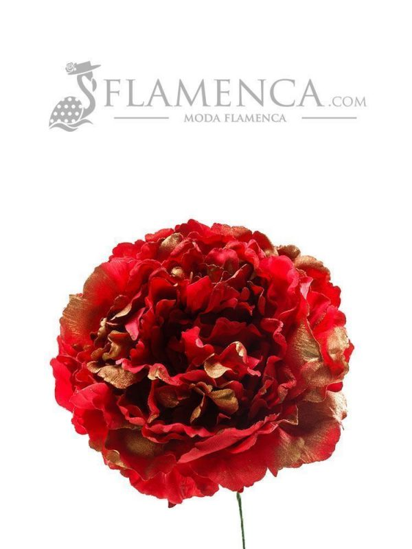 Red flamenco flower with gold highlights