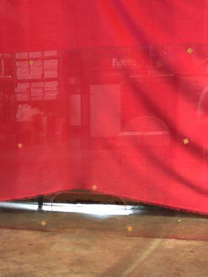 Mampara de cristal templado con cajón 150x70 cm