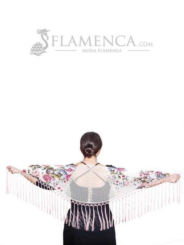Mantón de flamenca a trozos en plumeti marfil y estampado