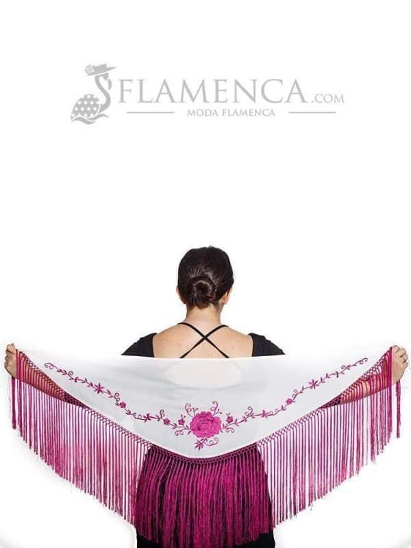 Mantón de flamenca batista marfil bordado en buganvilla