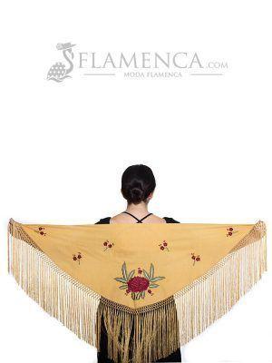 Mantón de flamenca batista mostaza bordado