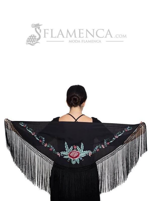 Mantón de flamenca batista negro bordado en multicolor