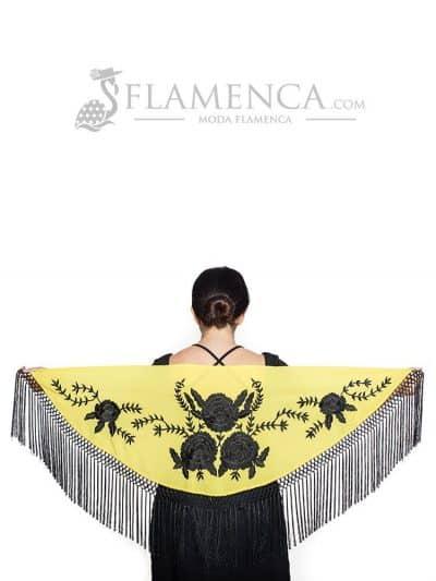 Mantón de flamenca crespón amarillo bordado en negro