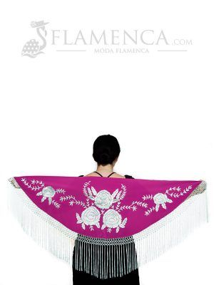 Mantón de flamenca crespón buganvilla bordado en verde agua pastel