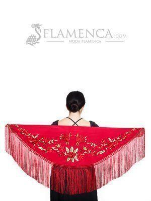 Mantón de flamenca crespón granate bordado