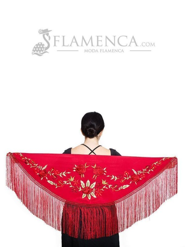 Mantón de flamenca crespón granate bordado