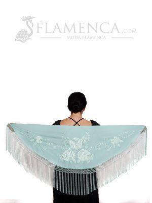 Mantón de flamenca crespón verde agua pastel bordado