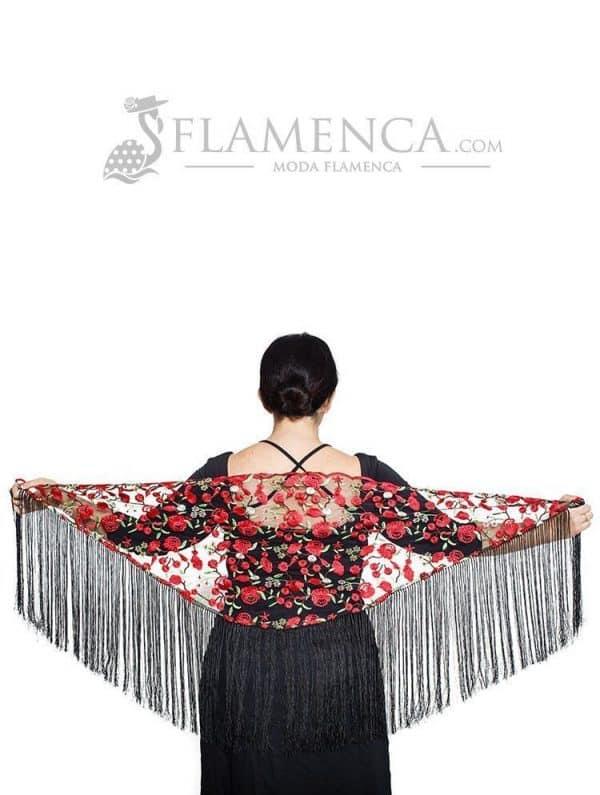 Mantón de flamenca en gasa negro bordado