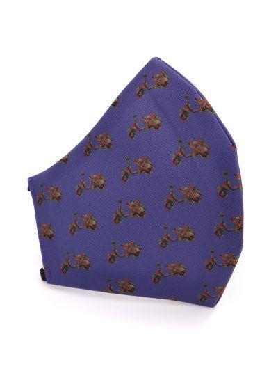 Mascarilla de tela reutilizable azul con vespas