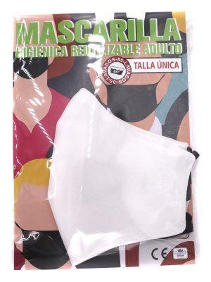 Mascarilla de tela reutilizable color blanco