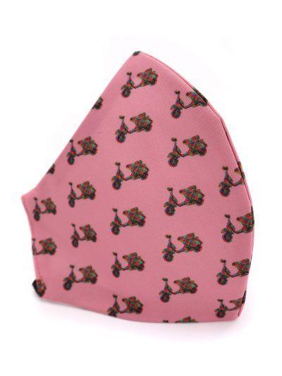 Mascarilla de tela reutilizable rosa con vespas