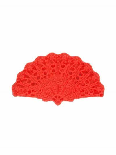 Broche de flamenca abanico de resina color rojo
