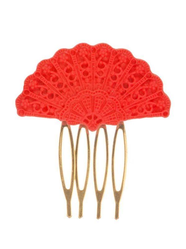 Peinecillo de flamenca abanico en resina color rojo