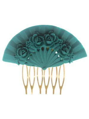 Aquamarine floral fan flamenco comb
