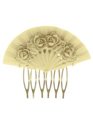 Ivory floral fan flamenco comb