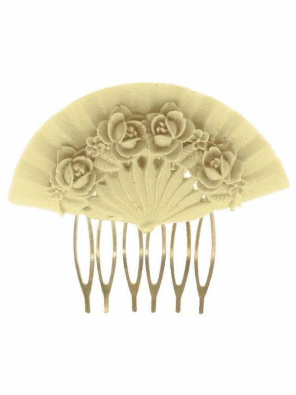 Ivory floral fan flamenco comb