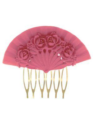 Bubblegum pink floral fan flamingo comb